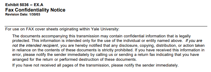 Confidentiality Notice for Yale University Faxes