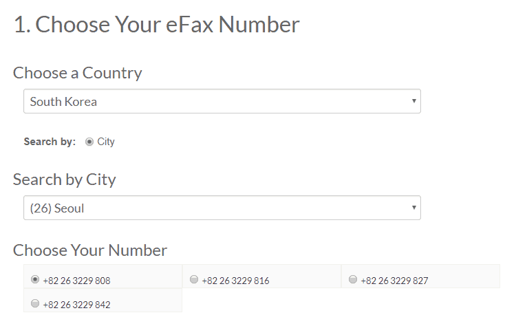 Selecting International Number for eFax