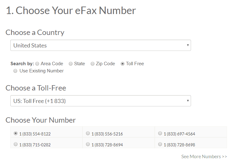 Selecting Toll-Free Fax Number