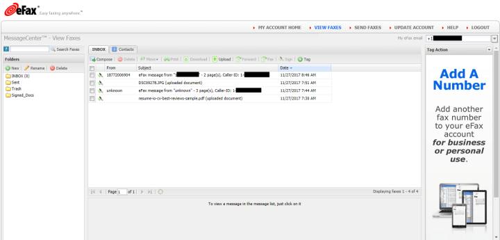 Inbox in eFax's Online Account