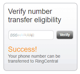 Fax Number Eligible for Porting