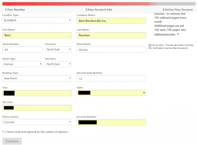 Filling out Fax Number Porting Request