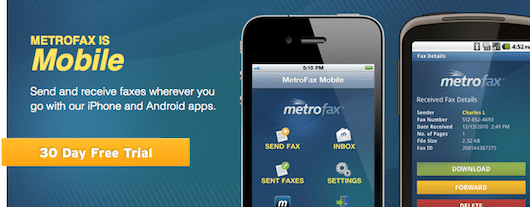 MetroFax' iPhone and Android apps
