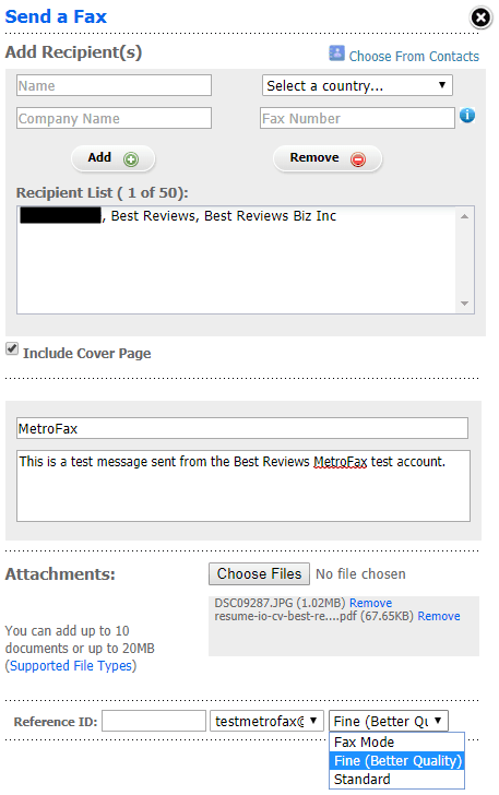 Sending Fax From MetroFax's Online Manager