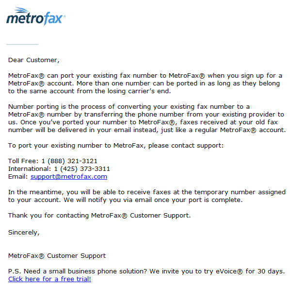 MetroFax's Response to the Email Inquiry