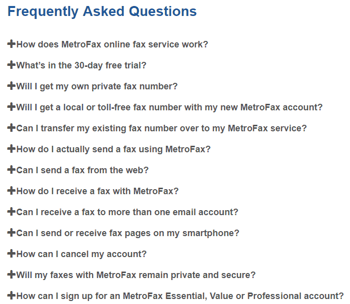 FAQ for MetroFax