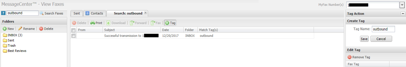 Searching by Tags in MyFax