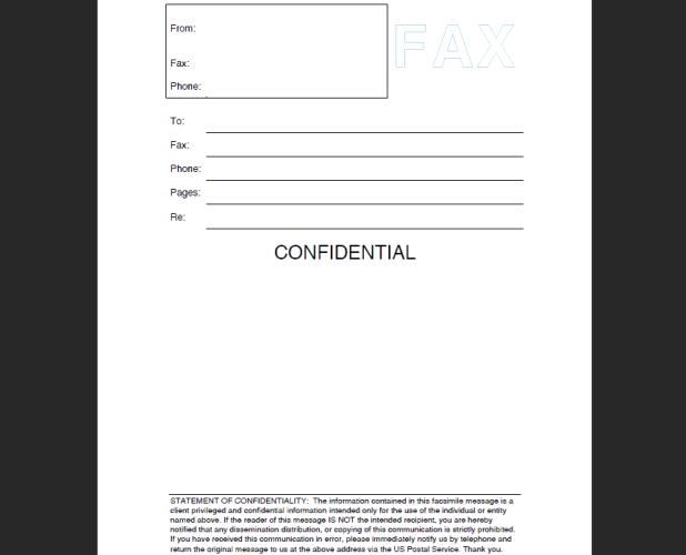 Cover Sheet for Confidential Faxes