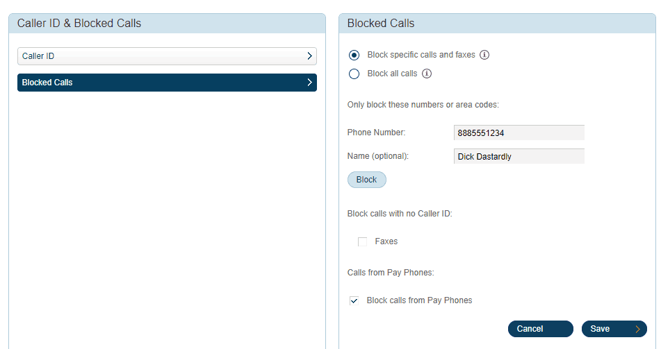 RingCentral Fax Blocking Numbers