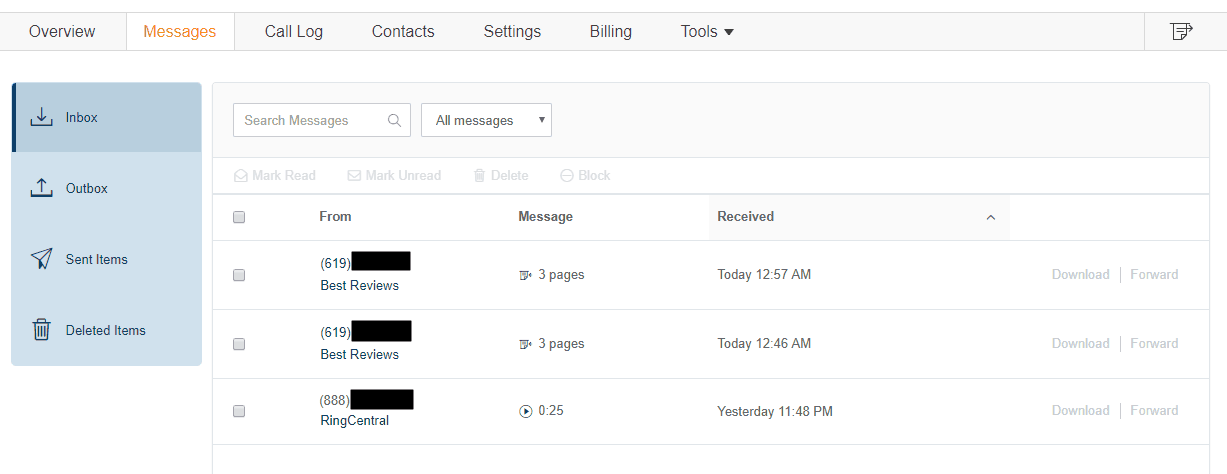 The Inbox of RingCentral Fax