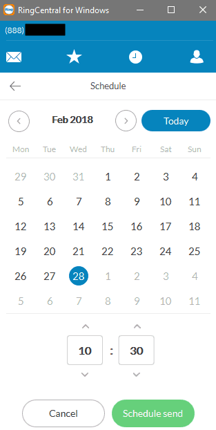 Scheduling Fax in RingCentral for Windows
