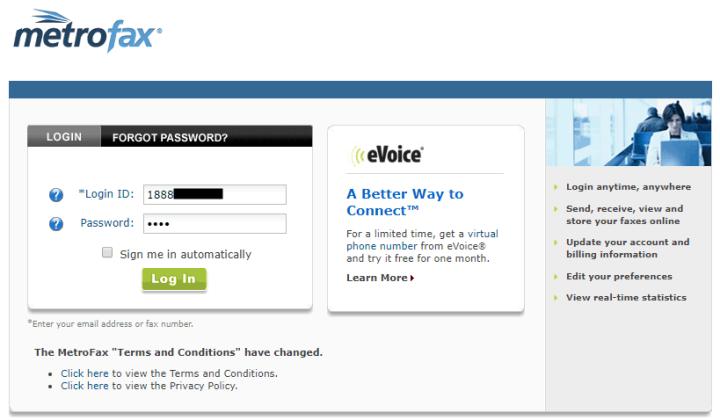 Autofilling Password for MetroFax