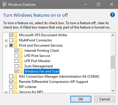 Activating Windows Fax and Scan
